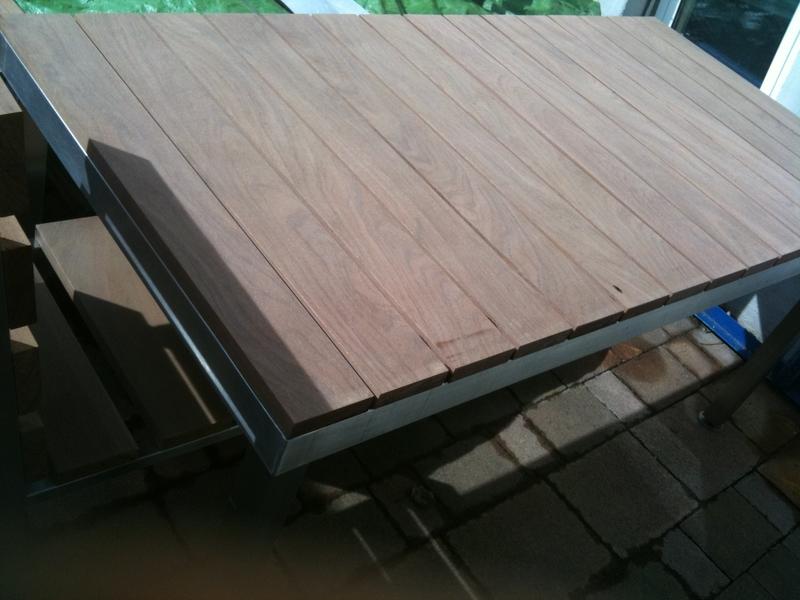 Gartentisch Edelstahl Mit Holzplatte.Gartentisch Aus Edelstahl Holzplatte Cumaru 2 5 Cm Preis Auf