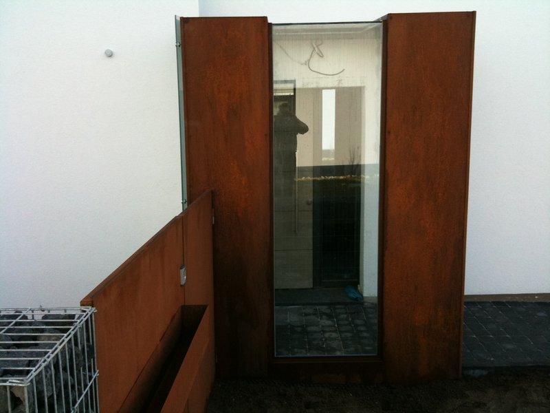 cor ten vordach cortenstahl gartentor preis auf anfrage metall kreativ ug shop. Black Bedroom Furniture Sets. Home Design Ideas